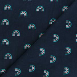 Poppy milleraies velvet fabric - navy blue rainbow x 10cm