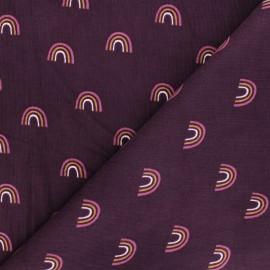 Poppy milleraies velvet fabric - purple Rainbow x 10cm