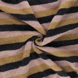 Lurex light knitted fabric - pink Stripy x 10cm