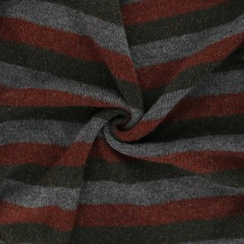 Lurex light knitted fabric - dark green Stripy x 10cm