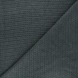 Tissu maille viscose torsade - gris foncé x 10cm