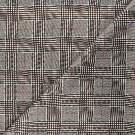 Tissu jersey milano Prince-de-galles - crème x 10cm
