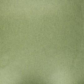 Tissu coton cretonne enduit nacré - vert mousse x 10cm