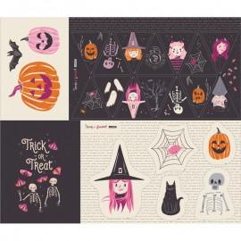 Tissu coton AGF Spooky 'n Sweeter - Sweet haunting panel x 89cm