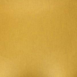 Tissu coton cretonne enduit nacré - jaune moutarde x 10cm