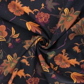 Crepe fabric - black Shimmering flowers x 10 cm