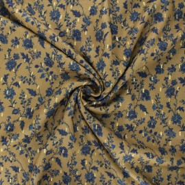Tissu viscose lurex Duski flowers - vert kaki x 10cm