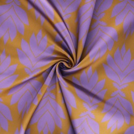 Print polyester satin fabric - ochre Wall flowers x 10cm