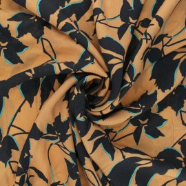 Viscose fabric - camel Floral shade x 10 cm