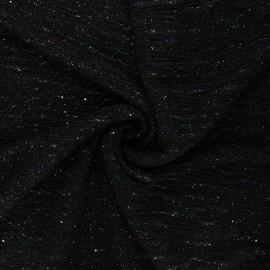 Tissu jersey polyester plissé Rainbow paillettes - noir x 10 cm