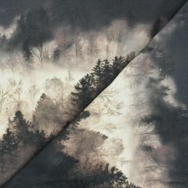 Tissu sweat léger Foggy forest - marron x 10cm