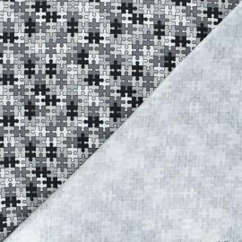 Cotton jersey PUL fabric - grey Puzzle x 10cm