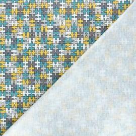 Cotton jersey PUL fabric - duck blue Puzzle x 10cm