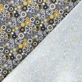 Cotton jersey PUL fabric - grey Engrenages x 10cm