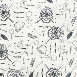 Cretonne cotton fabric - raw Harry Potter Hogwarts school x 10cm