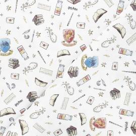 Cretonne cotton fabric - white Harry Potter Magic lessons x 10cm