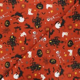 Cretonne cotton fabric - rust Scary x 10cm