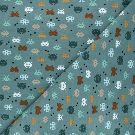 Poppy jersey fabric - green Pixel game x 10cm