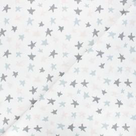 Cretonne cotton fabric - white Graffiti stars x 10cm