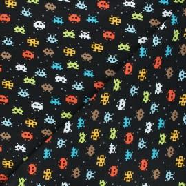 Poppy jersey fabric - black Pixel game x 10cm
