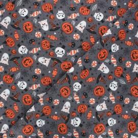 Tissu coton cretonne Kasper - gris x 10cm