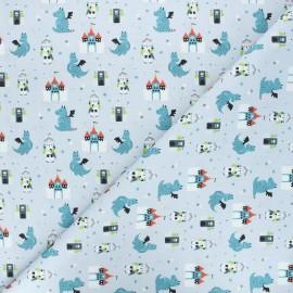 Cretonne cotton fabric - grey-blue Castle protectors x 10cm