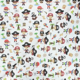 Cretonne cotton fabric - off-white Pirate squad x 10cm