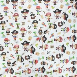 Tissu coton cretonne Pirate squad - blanc cassé x 10cm