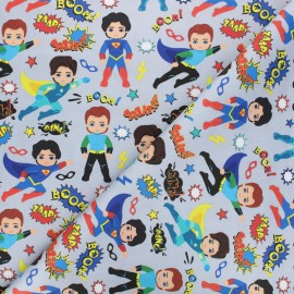 Satin cotton Canvas fabric - grey Young heroes x 10 cm
