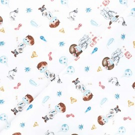 Satin cotton Canvas fabric - white Doctors x 10 cm