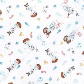 Tissu toile de coton satiné Doctors - blanc x 10 cm