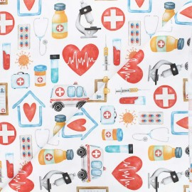 Satin cotton Canvas fabric - white Healthcare x 10 cm