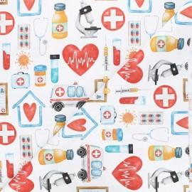 Tissu toile de coton satiné Healthcare - blanc x 10 cm