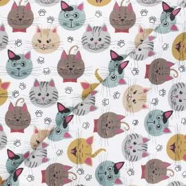 Tissu toile de coton satiné Joyful cats - blanc x 10 cm