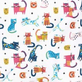 Tissu toile de coton satiné Minou friends - blanc x 10 cm