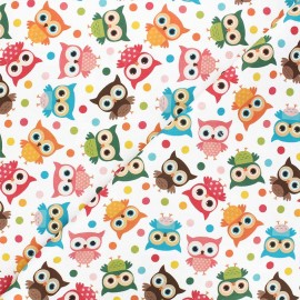 Satin cotton Canvas fabric - white Coucou hiboux x 10 cm