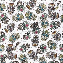 Tissu toile de coton satiné Mexicana calavera - blanc x 10 cm