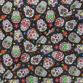 Satin cotton Canvas fabric - black Angelitos x 10 cm