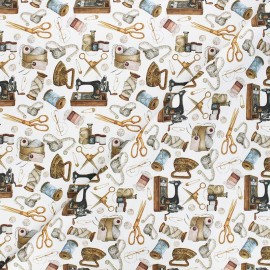 Satin cotton Canvas fabric - white Vintage couture x 10 cm