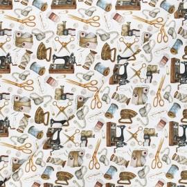 Tissu toile de coton satiné Vintage couture - blanc x 10 cm