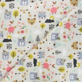 Satin cotton Canvas fabric - beige Domalia x 10 cm