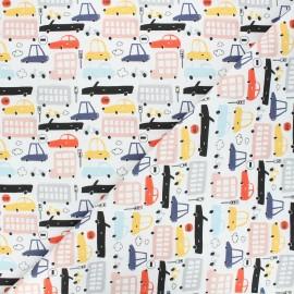 Cretonne cotton fabric - white City traffic x 10cm