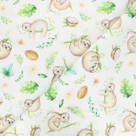 Cretonne cotton fabric - off-white Coconut and sloth x 10cm