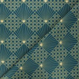 Tissu coton cretonne Cannage - vert x 10cm