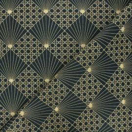 Tissu coton cretonne Cannage - noir x 10cm