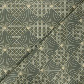 Tissu coton cretonne Cannage - vert kaki x 10cm