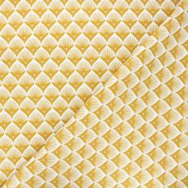 Tissu coton cretonne Baker - jaune moutarde x 10cm