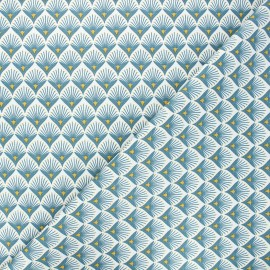 Tissu coton cretonne Baker - bleu pétrole x 10cm