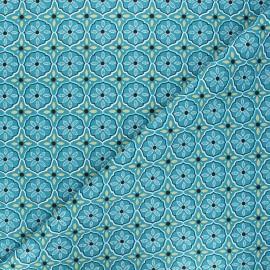 Tissu coton cretonne Suez - bleu canard x 10cm