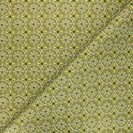Tissu coton cretonne Suez - vert kaki x 10cm